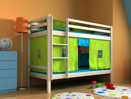 lit pour enfants lit superpos rideau 2 x matelas ebay. Black Bedroom Furniture Sets. Home Design Ideas
